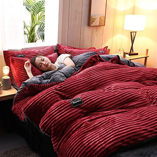 Bettwäsche Set Bettbezug Und Kissenbezug Winter Warme Wende Plüsch Sterne Bettwäsche Nicky-Teddy 'Cashmere Touch' Coral Fleece