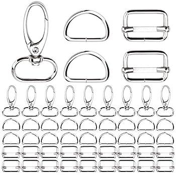 KA MAI KA Lot de 50 mousquetons pivotants - 20 mm - Anneaux en D - Boucle de sac - Demi anneaux de réglage de sangle - Bricolage - Boucle de serrage pour sac à dos