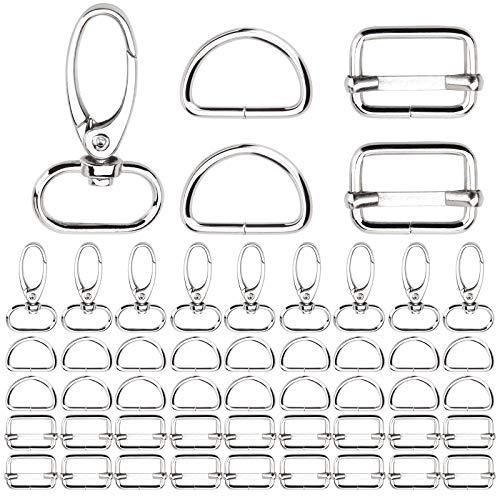 KA MAI KA Juego de 50 mosquetones giratorios de 20 mm con anillas en forma de D, para bolsa, correa de cuello, juego de ajuste de correa para manualidades, para mochilas, correas, mochilas