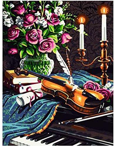 Rose/Kerzenhalter/Violine/Klavier Diy Ölgemälde Malen Nach Anzahl Kits Für Erwachsene Kinder Handbemalte Acrylmalerei Wandkunst Für Wohnzimmer