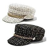 BenU Womens Newsboy caps Girls Plaid Tweed Beret Hat Mariner Military Style Visor Hat 2 Pack Black and White