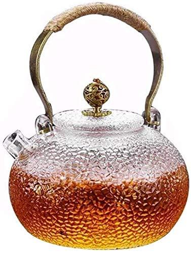 Bouilloire induction Poêle en céramique électrique Bouilloire en verre résistant à la chaleur Théière martère spéciale bouilloire en verre poignée de cuivre Pot théière WHLONG