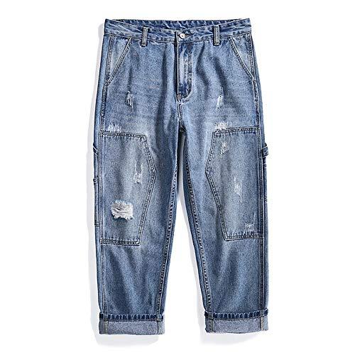 Pantalones vaqueros para hombre Pantalones rectos sueltos europeos y americanos con collage personalizado Pantalones cortos de mezclilla Pantalones vaqueros casuales de moda de mediana altura XL