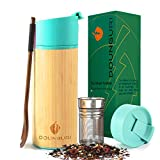DOUNGURI Bamboo Tea Tumbler Mug with Strainer Infuser - 12oz/Vacuum Insulated Stainless Steel...