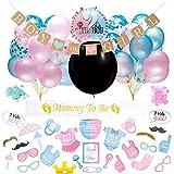 Gender Reveal Party, 64 Sexo Revelan Decoraciones De Fiesta para Baby Shower Fiesta De Cumpleaños - Incluye Pancartas y Sets De Globos, Disfraces para Vestir (Negro)