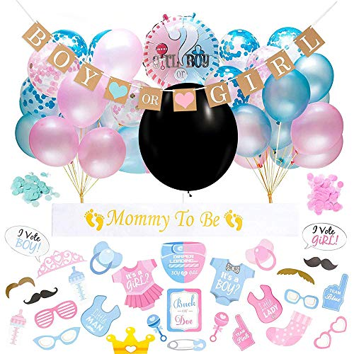 Gender Reveal Party, 64 Sexo Revelan Decoraciones De Fiesta para Baby Shower Fiesta De Cumpleaños - Incluye Pancartas y Sets De Globos, Disfraces para Vestir (Negro)