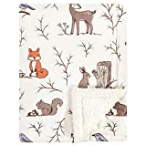 Hudson Baby Unisex Baby Plush Blanket with Sherpa Back, Enchanted Forest, One Size, 30x40 inch (Baby)