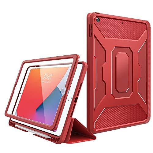MoKo Custodia per Nuovo 10.2 Pollici iPad 9a Gen. 2021   iPad 8a Gen 2020   iPad 7a Gen. 2019, Case Tablet con Supporto Penna Stylus, Supporto Tablet, Accessori Tablet, Cover per Tablet - Rosso