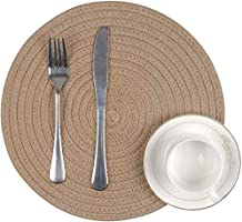pepme Set of 4 Braided Jute Placemats, 35 cm Round, Best for Bed-Side Table/Center Table, Dining Table/Shelves (Natural...