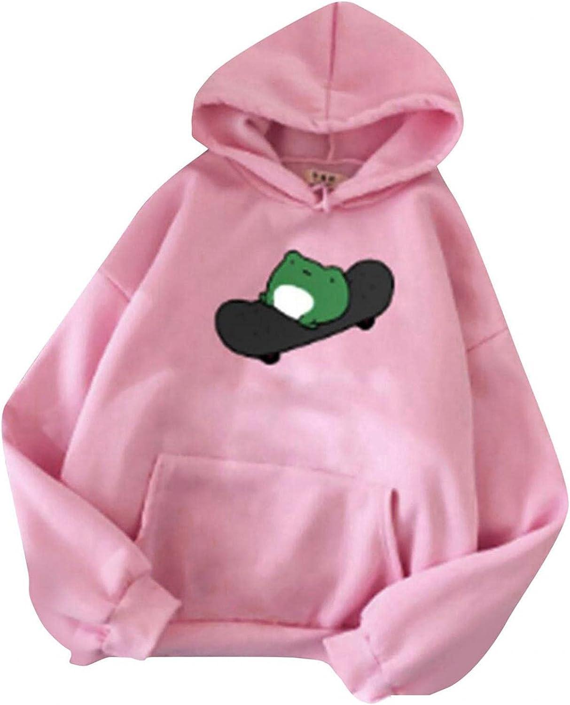 ONHUON Sweatshirts for Women, Womens Girls Cute Frog Print Long Sleeve Hoodie Casual Loose Hooded Sweatshirt Blouse Tops