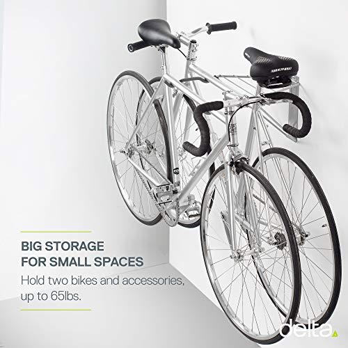 Delta Cycle Pablo Monet Folding Bike Wall Mount Rack Storage for Garage Indoor, Pablo two bike silver