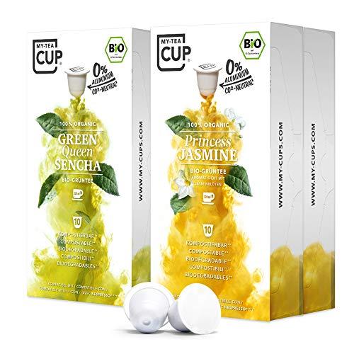 My-TeaCup – GRÜNTEE-BOX: 4 x 10 KAPSELN BIO-TEE I 2 SORTEN BIO-TEE (BIO-GRÜNTEE) I 40 Kapseln für Nespresso®³-Kapselmaschinen I 100% industriell kompostierbare & nachhaltige Teekapseln – 0% Alu