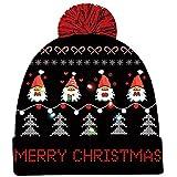 Goodstoworld LED Leuchten Weihnachtsmütze mütze mit led für Männer Frauen Jungen Mädchen Strickpullover 6 Bunten LED Strickmütze Beanie Mütze Wintermütze Christmas Santa Hat for Party