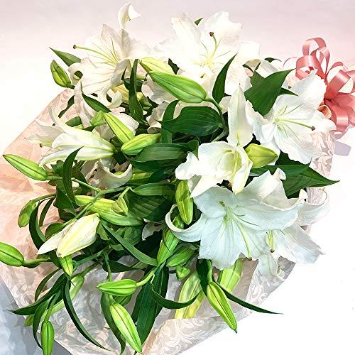 大輪白ユリ 銀座のカサブランカ 花束 3本15輪以上 ほぼ蕾でお届け ウィンターギフト 誕生日 ブーケ プレゼント 記念日 ギフト 結婚祝 生花