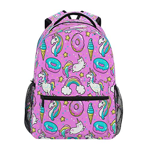 High School Bookbag Bag,Travel Daypack,Laptop Backpacks for Men Women,Unisex Rucksack Unicorns Donuts Rainbow