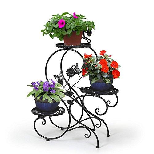 HLC-Noir Porte Pot Pots Plante Fleurs 3 Etagere Support Jardin en Metal Fer
