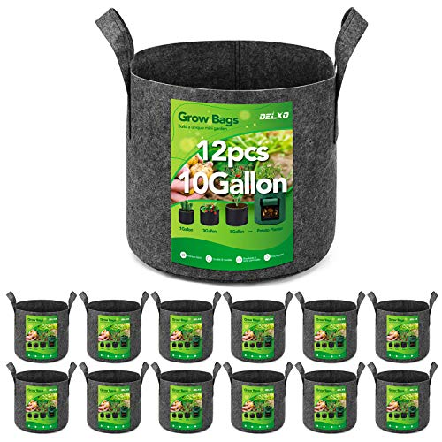 Delxo 12-Pack 10 Gallon Grow Bags Heavy Duty Aeration Fabric Pots Thickened Nonwoven Fabric Pots Plant Grow Bags Grey