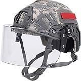 WLXW Casco PJ Type Fast Airsoft con Visera Y Cubierta de Casco, Casco Militar Army SWAT con Gafas Y Montura NVG/Rieles Laterales para Juego de Paintball CS,ACU,S(52/60CM)
