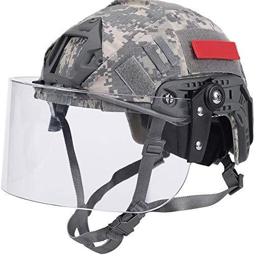 WLXW PJ Typ Fast Airsoft Helm Mit Visier Und Helmabdeckung, Army SWAT Militärhelm Mit Schutzbrille Und NVG Mount/Side Rails Für Paintball CS Spiel,ACU,L(56/62CM)