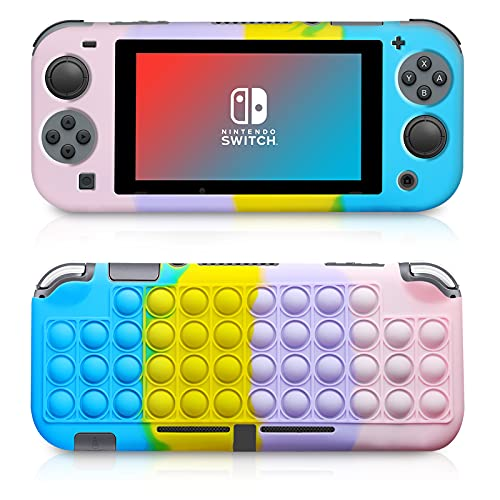 ATESSON Pop Bubbles Silicone Case Compatible with Nintendo Switch, Anti-Anxiety Toy for Kids and Adult (Pink)