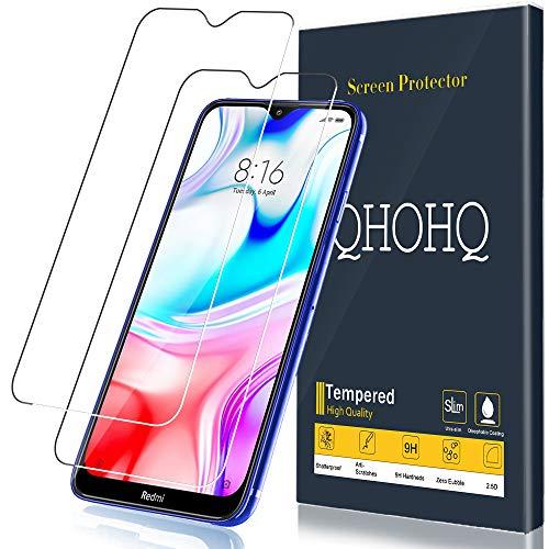 QHOHQ Schutzfolie für Xiaomi Redmi 8A,Xiaomi Redmi 8, [2 Stück] [9H Festigkeit] HD Transparent Anti-Kratzen [Blasenfrei] Panzerglas