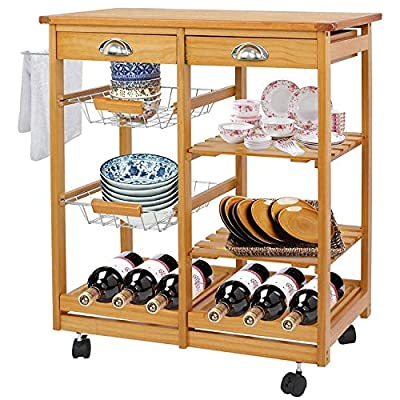 BBBuy Wooden Rolling Kitchen Storage Island Cart Dining Trolley Basket Stand Counter Top Table Microwave Cart Rack w/Drawers by BBBuy