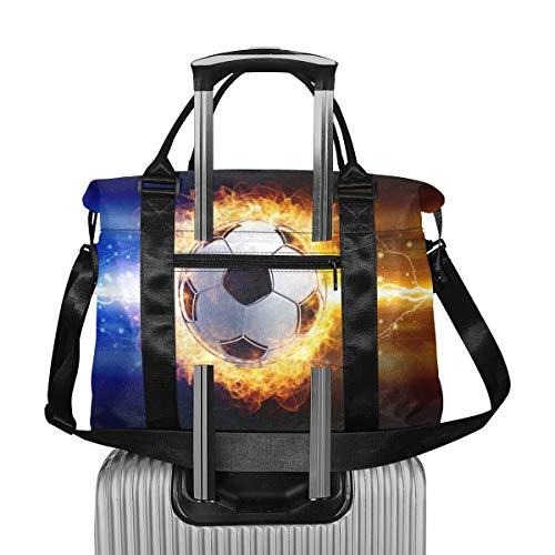 Cool Creative Sports Football Fire Duffle Bag para Mujeres Large Travel Extra Large Weekend Bag Bolsas de Viaje de Viaje Ligeras para Maletas Plegable para Hombres Mujeres