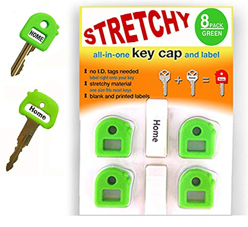 LLKC. Key Cover caps. Free Key Chain! Free Labels! Stretchy Material -One Size Fits Most Keys -Blank & Printed Labels - Great Key Identifier. (Green)