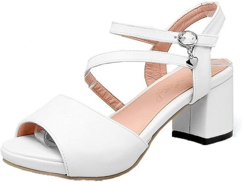 AmoonyFashion Women's Buckle Kitten-Heels Pu Solid Open-Toe Sandals, BUTLT007640