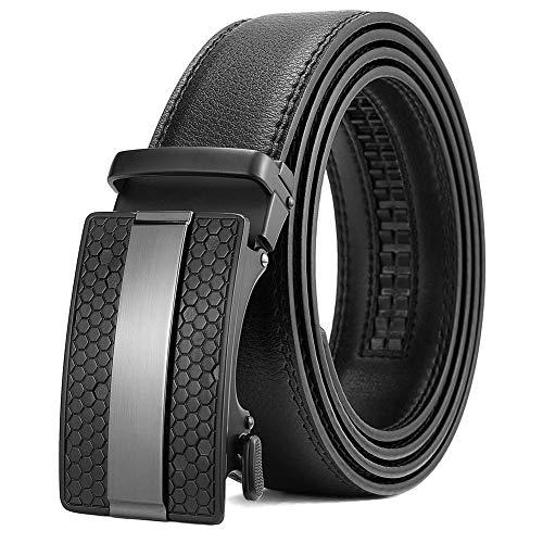BOSTANTEN Ledergürtel Herren Leder Gürtel mit Automatik SchnalleJeans Belt Schwarz