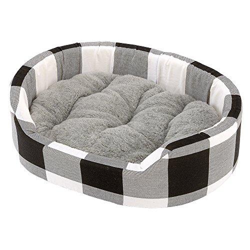 Ferplast 82943098W3 Baumwollbett Dandy 65 für Katzen und Hunde mit Fell, Maße: 65 x 46 x 17 cm, grau/schwarz kariert
