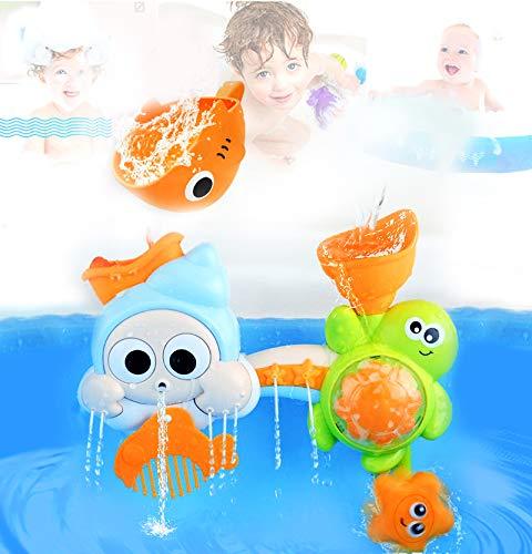 fiouni Baby Bath Toy Set Cascada interactiva Estación de Agua Juguetes de bañera con ventosas para niños de 18 Meses en adelante
