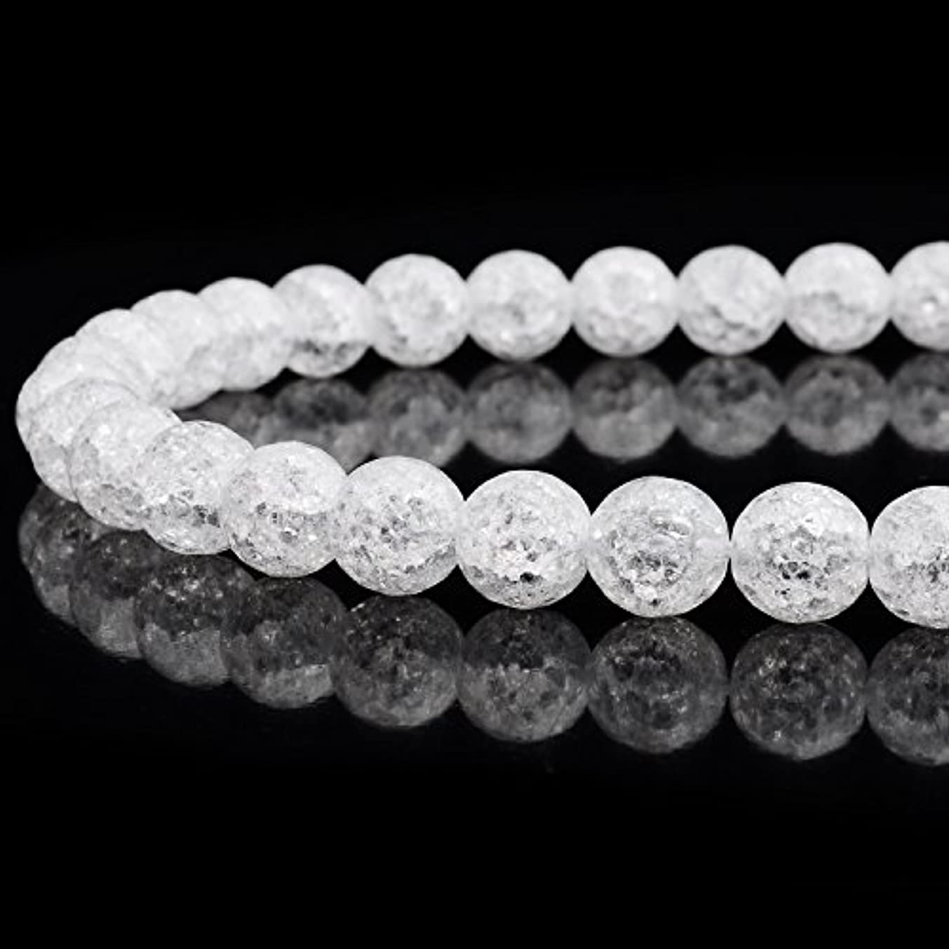 RUBYCA Natural AAA Grade White Clear Quartz Crystal Crackle Round Beads Jewelry Making 1 strand 10mm