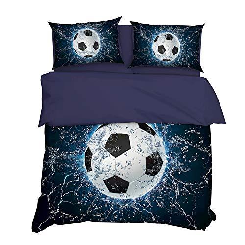 AYMAYO Kids - Kinder-Bettwäsche-Set 135x200 cm Fussball-Motiv Bettbezug und Kissenbezüge Set Fußball Fans.