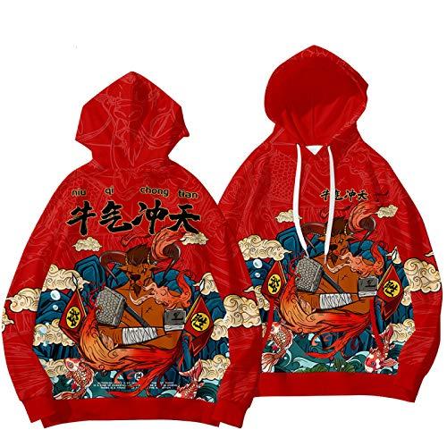 GIRLXV Año Nuevo Año del Buey Suéter Otoño Invierno Swallowing Bull Fighting Hoodie Plus Velvet Sudadera Deportiva para Hombre M