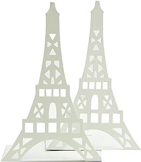 1paire de serre-livres décoratifs en forme de tour Eiffel, en métal - Pour étagère, bureau, etc. blanc