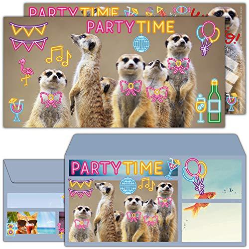 12er Set ERDMÄNNCHEN PARTY Einladungskarten mit Umschlag zum Kinder-Geburtstag - Party Einladungen für Kinder Teenager & Erwachsene von BREITENWERK