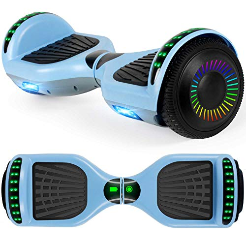 "UNI-SUN Hoverboard for Kids, 6.5"" Two Wheel Self Balancing Hoverboards with Bluetooth and Lights for Adults, Blue Gray Hover Board"