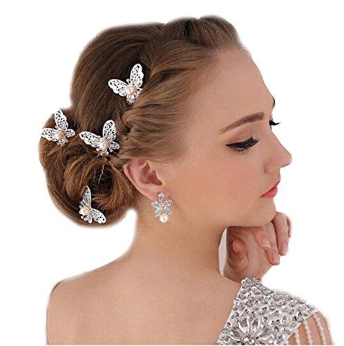 Unbekannt 3-er Set XL Haarnadeln Tiara Schmetterling Haarschmuck Strass Perlen Hochzeit Kommunion Braut Taufe Haarnadeln XL Haarnadeln