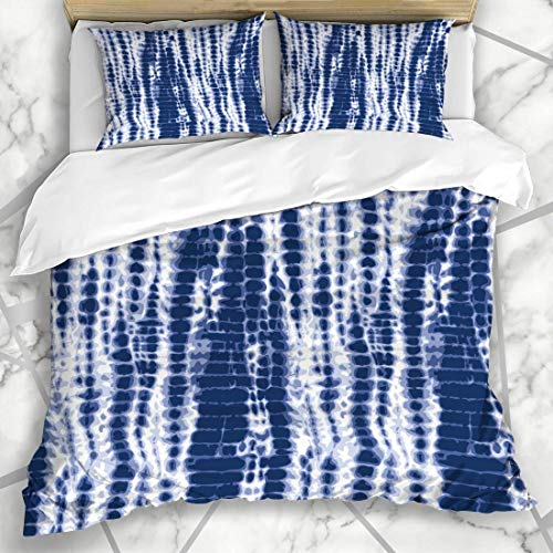 Bettbezug-Sets Shibori Aquarell Farbstoff Indigoblau Tiedye Muster Abstrakte Krawatte Navy Batik Wassergefärbte Farbe Design Tinte Mikrofaser Bettwäsche mit 2 Kissen Shams...