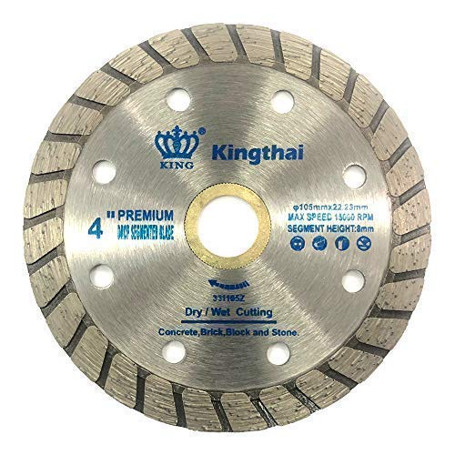 Kingthai ダイヤモンドカッター ウェーブタイプ 105mm 乾式 コンクリート ダイヤモンドブレード ブロック タイル レンガ 切断用 刃 ダイヤモンド カッター 替刃 替え刃 石材用 ダイヤモンドホイール