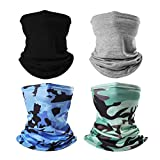 SG SUGU 4Pcs Kids Neck Gaiter Face Mask Face Cover for Children Neck Gaiter Scarf Bandanas for Outdoor Washable