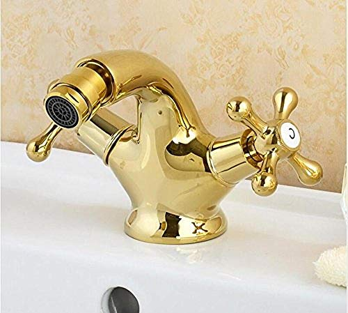 Bidet eje dorado grifo de doble manija grifo bidé lavabo grifo de grúa de latón antiguo dorado grifo de baño