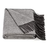 Spencer & Whitney Bed Throws Wool Throw Blanket Grey Wool Blanket 70% Wool 30% Viscose Shawl Warp Twin Lightweight Throw Blanket for Bed Couch