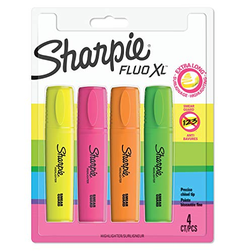 Sharpie Fluo XL Textmarker, Keilspitze, 3 Verschiedene Breiten, 4er Packung, farblich sortiert