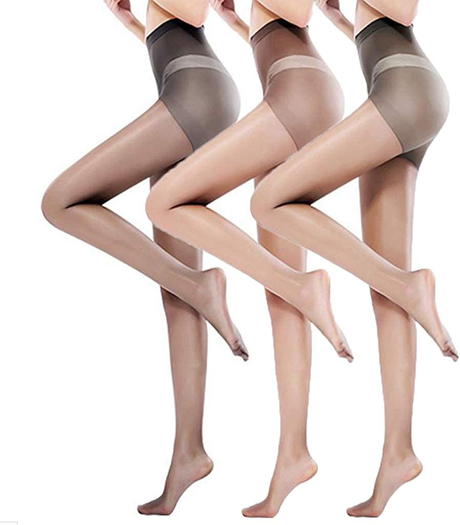 3 Pairs Pantyhose for Women High Waist Sheer Tights Control Top Footed Tight Silk Stockings