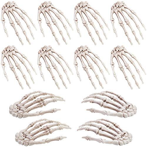 URATOT 12 Pieces Halloween Realistic Life Size Skeleton Hands Plastic Fake Human Hand for Bone Zombie Party Terror Scary Props Halloween Decorations
