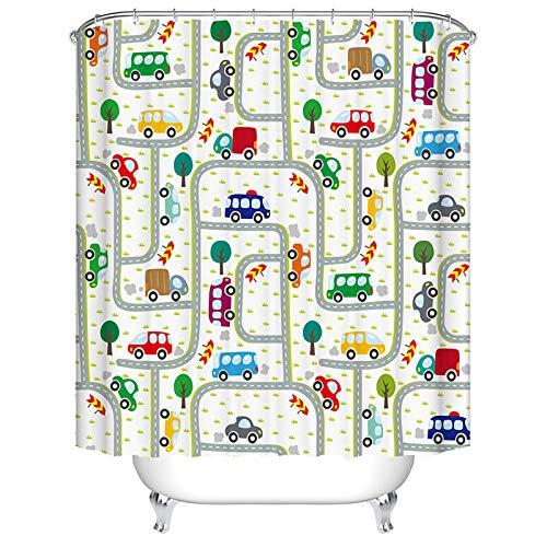 BOYOUTH Duschvorhang mit Wasserfarben-Cartoon-Bus, Baum & Straßen-Muster, Digitaldruck, für Badezimmer, Dekoration, Polyester, wasserdichter Stoff, Badvorhang mit 10 Haken, 150 x 177 cm, mehrfarbig
