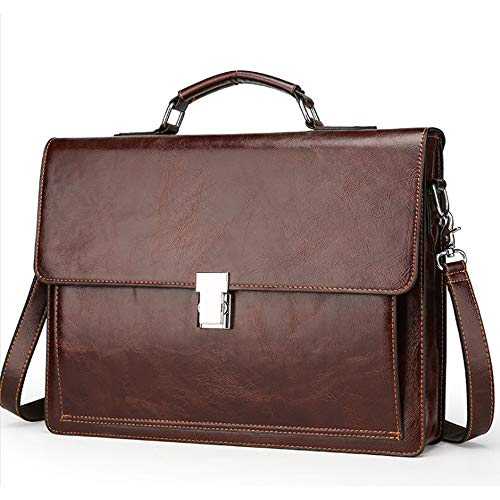 Leather Travel Briefcase,Top-Handle Handbags Leather Doctors Bag Laptop Attache Case Lawyer Briefcases Lock 15 Inch Business,Brown
