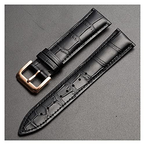 LINMAN Reemplazo Universal Top Capa de Cuero Reloj de Cuero Reloj de Cuero para Hombres Mujeres 10mm-24mm Watch Band (Band Color : Black RG Buckle, tamaño : 20mm)
